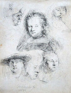 REMBRANDT Original 1636 Etching quot;Studies of the Head of Saskia and Othersquot; $5400.00