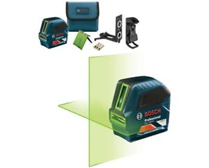 Bosch GLL 100 GX Green Beam Self Leveling Cross Line Laser with mounting kit