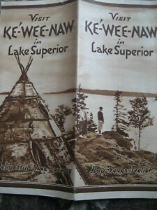 Antique 1940's KEWEENAW PENINSULA, UPPER MICHIGAN Map Cooper Country Vacationist