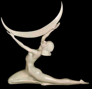Art Deco Nude Naked Moon Lady Girl Museum Sculpture Statue Replica Reproduction