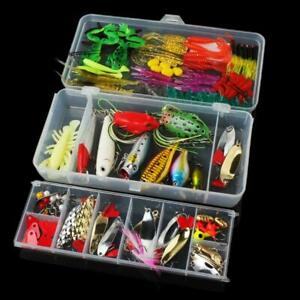 131pcsSet Fishing Accessories Tackle Hooks Box Lures Baits Case Tool Kit Fish