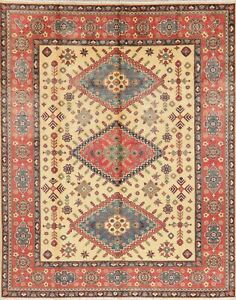 Super Kazak Wool Rug Vintage Style Hand-Knotted IVORY Oriental Area Rug 8x10 NEW