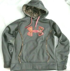 Under Armour Gray Camo w Pink Storm Long Sleeve Pullover Hoodie Womens Med M