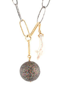 Designer Sterling Silver Gold Multicolor Pearl Diamond Pave Ball