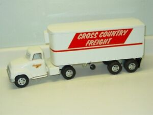 Vintage Tonka Cross Country Freight Semi Truck Trailer Pressed Steel Toy 1955