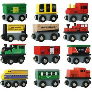 12 Piece Wooden Train Cars Magnetic Set Includes 3 Engines Magnet Train Toy $20.98