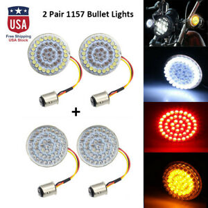4Pcs 1157 48 LED Inserts Bullet-style Turn Signal Running Lights Bulb for Harley
