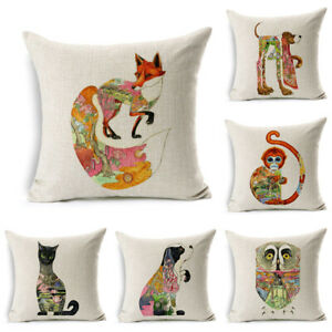 Classic Animal Home Cover Pillowcase Woven Cushion Cotton Linen Pillow Decor $3.15