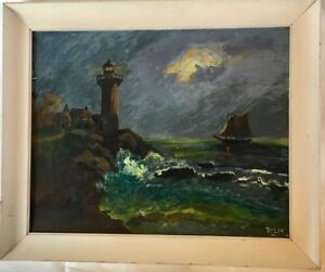 Oil Painting of Lighthouse Stormy Sea Ocean Nautical Tall Ship Vintage Boat