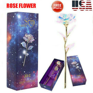 Galaxy Rose Flower Valentine's Day Lovers' Gift Romantic Crystal Rose With Box D