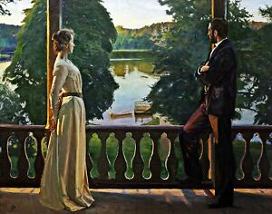 Nordic summer evening by Swedish Richard Bergh. Life Art Repro Canvas or Paper