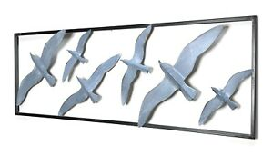 Metal Wall Art Decor Bird Flock Silver Oxidized Color Sculpture by ZENDA IMPORTS $49.00