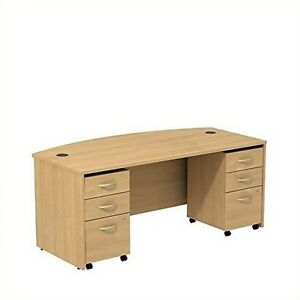 Series C Collection 72W Bowfront Shell Desk W/ Two 3 Drawer Mobile Pedestals NEW