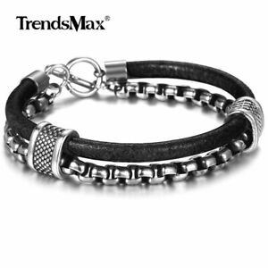 8.26inch Men Black Genuine Leather Bracelet Stainless Steel Box Chain Sport