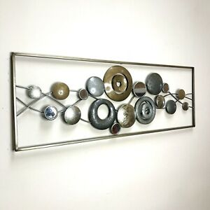 Metal Wall Art Decor Circle and Donut Gold and Silver Shapes With Mirror Inlays $34.30