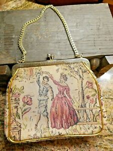 VINTAGE Victorian Garden dancing couple Tapestry Bag Gilt Frame $39.00