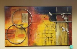 "Original Design & Hand Painted Mixed Media on Canvas w Steel Frame (50"" x 82"")"