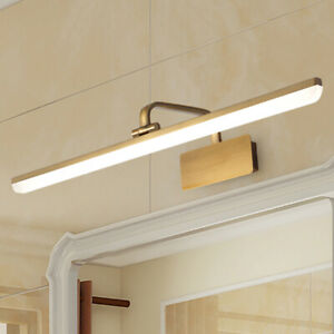Modern Brass Bathroom LED Light Fixture Mirror Front Wall Sconce Vanity Lamp