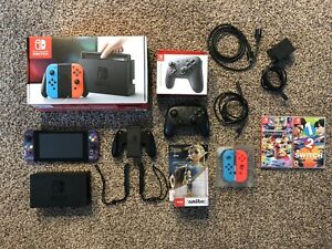 Custom Nintendo Switch Gray Console with Purple Joy-Cons 2 Games and etc.