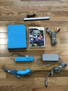 Nintendo Wii Limited Edition Blue Console + Controller & Mario Galaxy SHIPS FREE