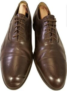 BALLY ITALIAN MAN OXFORDS SHOES CAPTOE BROWN LEATHER SIZE 11 1 2 W