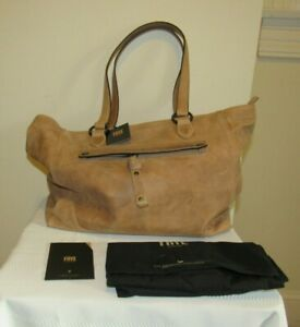 FRYE LEATHER MELISSA DISTRESSED SHOULDER HANDBAG BAG ZIP TOP TOTE BEIGE $398