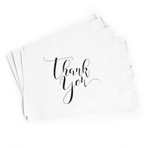 100 THANK YOU designer poly mailers size 10 x 13 in lightweight white black usps
