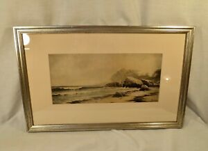 Antique Signed Watercolor Rocky Coastline Signed AT Bricher $950.00