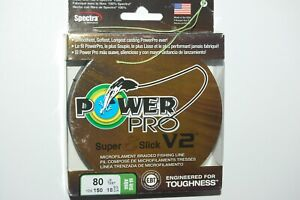 power pro braided fishing line super 8 slick V2 80lb 150yd spool hi vis aqua