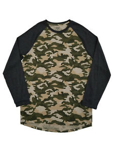 Mens Big & Tall Camouflage Crew Neck Long Sleeve Raglan T-Shirt