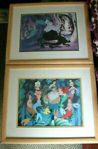 Little Mermaid Ariel LITHOGRAPH DISNEY FRAMED PICTURE PRINT pair of 2 $14.99