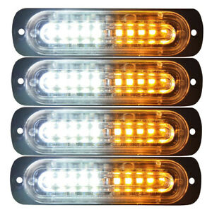 4pcs 10 LED Strobe Lights Emergency Flashing Warning Beacon White Amber 12V 24V