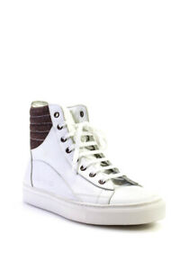 Raf Simons Mens Leather High Top Aged Eyelet Sneakers White Size 40