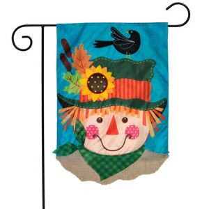 Harvest Scarecrow Fall Applique Garden Flag Double Sided 12.5