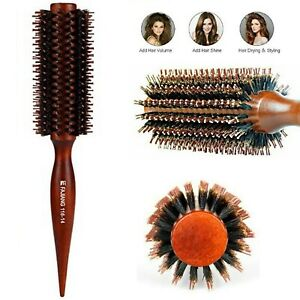 Hair Brush Natural Boar Bristles Wooden Handle Women Beauty Styling Round Comb