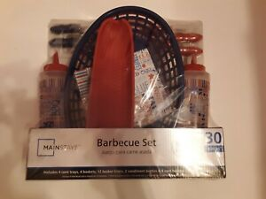 Mainstays 30 Piece Barbecue BBQ Set Corn on the Cob Holders, Trays and Baskets