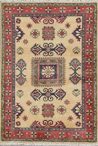 Geometric IVORY Super Kazak Oriental Area ACCENT Rug Hand-Knotted WOOL 3' x 5'
