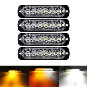 4x 6LED Car Truck Emergency Beacon Warning Hazard Flash Strobe Light Amber White