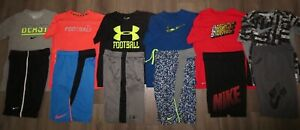 Lot 12 Boy's UNDER ARMOUR NIKE Dri-Fit Football T-Shirts Shorts YLG Large 1416