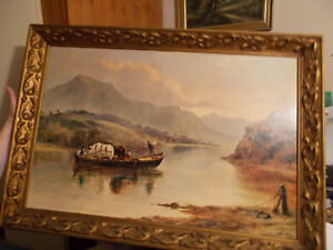 Vintage Antique Painting of Boat Taxi Crossing River With Men Horses $128.00