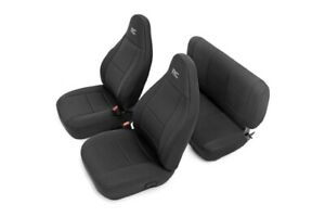 Rough Country Neoprene Front/Rear Seat Covers-Black, for 03-06 Wrangler; 91001