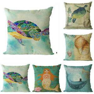 Case Decor Cushion Home Cover Cotton Sofa Bed Waist Linen Painting Pillow $2.83