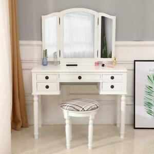 Vanity Makeup Dressing Table Set Folding Mirror Desk Dresser W Stool Wood White