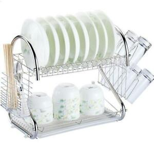 2 Tier Multi function Stainless Steel Dish Drying RackCup Drainer Strainer