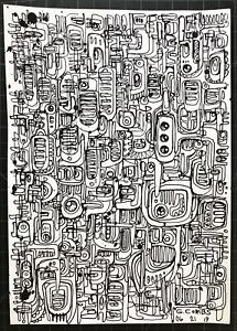 contemporary abstract graffiti pop futurism modern ink on paper drawing art brut