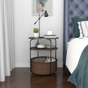 Lifewit Small Round Side Table End Table with Fabric Storage Basket in Home