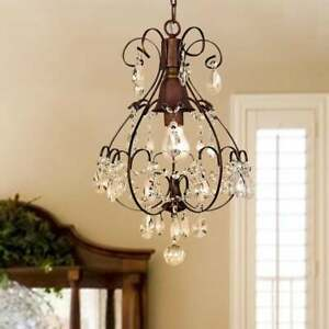 SMALL CRYSTAL CHANDELIER One Light Ceiling Hang Fixture Dining Living Room Chain