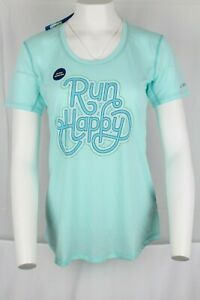 New Brooks Women's Pace Setter Run Happy T-Shirt Medium Heather Ice Happy Stamp
