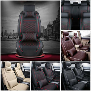New PU Leather Car 5-Seat SUV Seat Cover Cushions Front&Rear W/Pillows Set USA