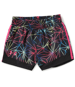 NWT Girls Youth Under Armour Girls Polyprism Play Up Short Black Multi Size 4